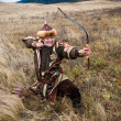 Nomad. Kazakh, hungarian warrior whith bow. Hunter. — Stock Photo #35507711