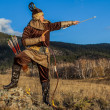 Nomad. Kazakh, hungarian warriors whith bow. Hunters. — Stock Photo #35532161