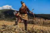 Nomad. Kazakh, hungarian warriors whith bow. Hunters. — Stock Photo