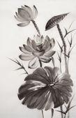 蓮の花の水彩画 — ストック写真