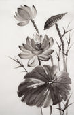 Lotus çiçeğinin suluboya resim — Stok fotoğraf