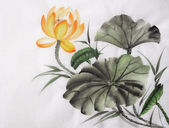 Watercolor painting of yellow lotus flower — Stock Photo