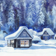 Stock Photo: Winter cottages
