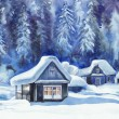 Winter cottages — Stock Photo