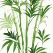 Stock Photo: Watercolor painting of palm bamboo