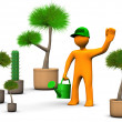 Gardener With Plants — Stock Photo
