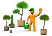 Gardener With Plants — Stock Photo