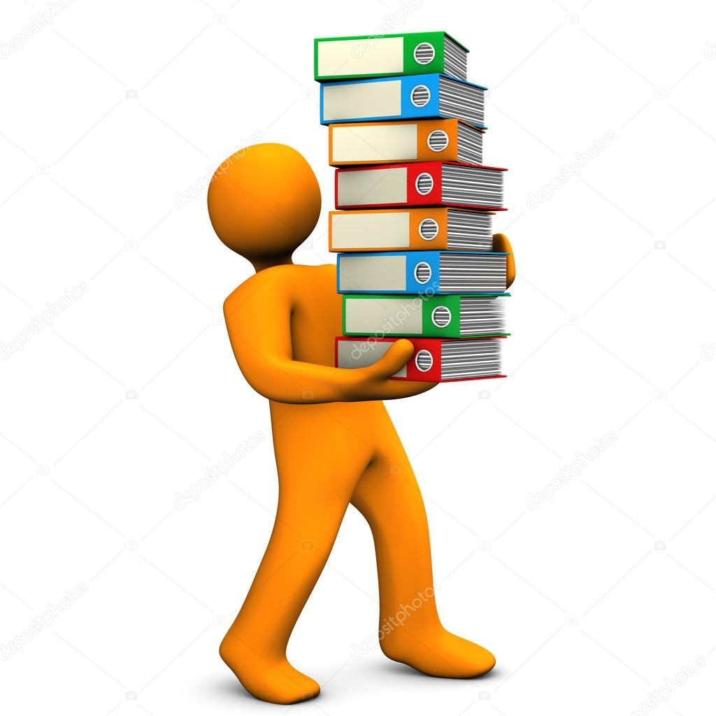 Orange cartoon character bears a batch of folders. White background. — Stock Photo #12865168