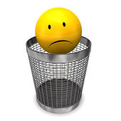 Wastebasket Yellow Sadly Smiley — Stock Photo