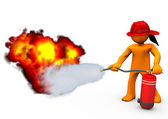 Fireman Extinguisher Fire — Stock Photo