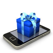 Smartphone Blue Gift — Stock Photo