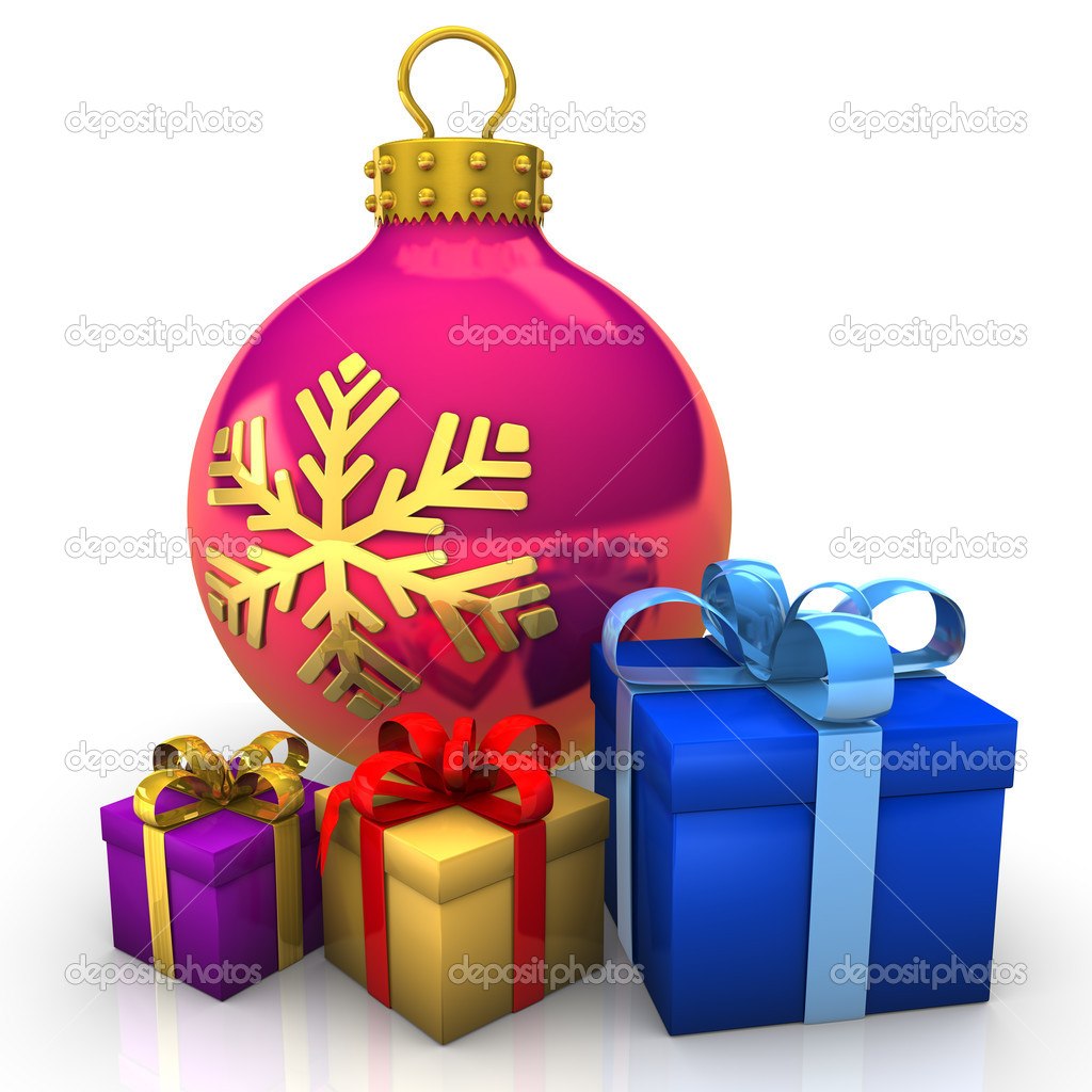 Bauble with gifts on the white background. — Stock Photo #14218377