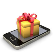 Smartphone Golden Gift — Stockfoto