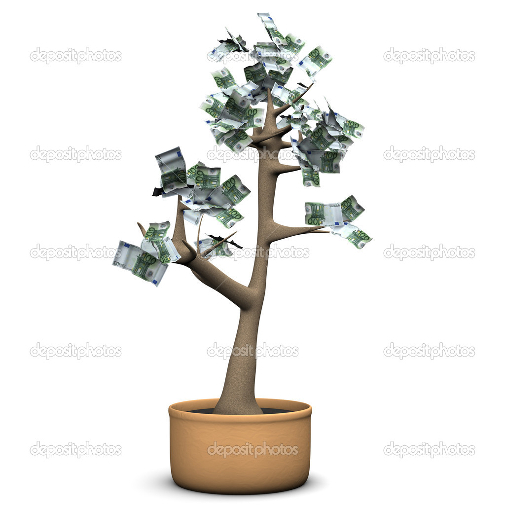 Money tree with euro banknotes. White background. — Stock Photo #14697949