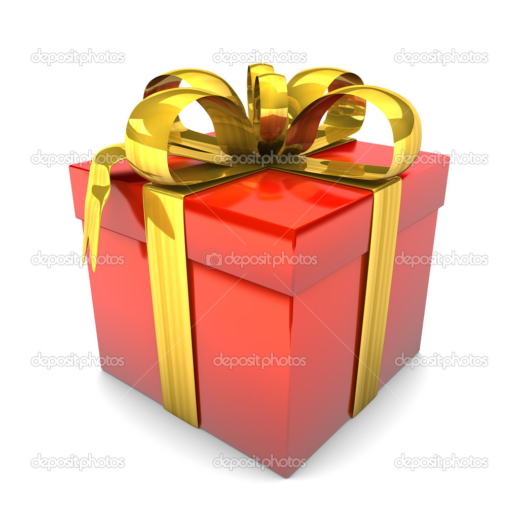 Red gift with golden ribbons on the white background. — Stock Photo #16283027