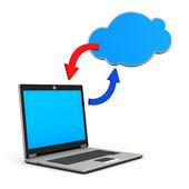 ноутбук синий облако — Стоковое фото