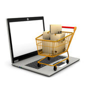 Laptop Shopping Cart — Stock Photo