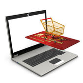Laptop Mobile Shopping — Stock Photo