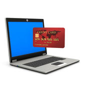 Laptop Credit Card — Fotografia Stock