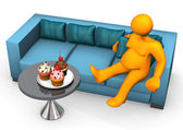 Lazy And Fat Cupcakes — Stock Photo