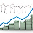 Money Chart Wind Turbines - Stock Photo