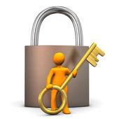 Manikin Padlock Golden Key — Stock Photo