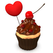 Cupcake Choco Heart — Stock Photo