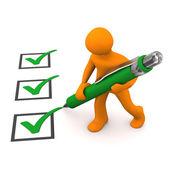 Green Checklist Manikin — Stock Photo