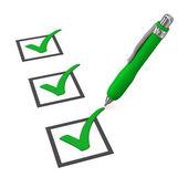 Green Checklist Ballpen — Stock Photo