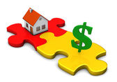 House Puzzle Dollar — Stock Photo