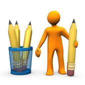 Pencils Manikin — Stock Photo