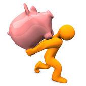 Piggy Bank Burden — Stock Photo