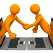 Stock Photo: Manikins Laptops Handshake