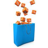 Shopping Bag Percent Cubes — Stock Photo