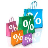 Shopping Bags Percent — Stock Photo