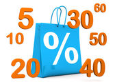 Shopping Bag Percent Numbers — Stock Photo