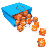 Shopping Bag Percent Cubes — Stock Photo