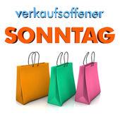 Shopping Bags Sunday Opening — Stock Photo