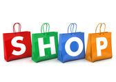 Shopping Bags Shop — Stock Photo