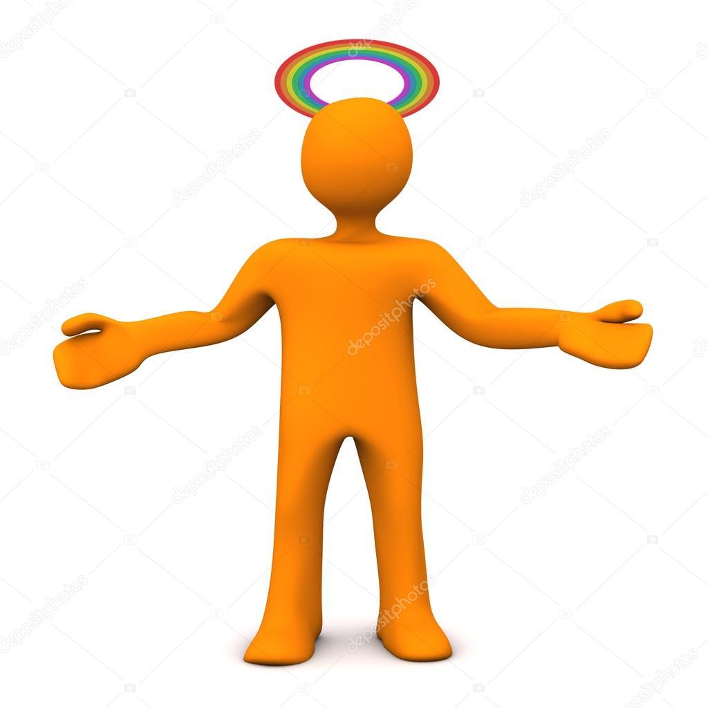 橙色卡通人物与 gloriole 在彩虹的颜色.