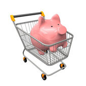 Shopping Cart Piggy Bank — Stock Photo