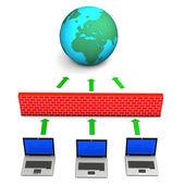 Firewall globus laptops — Stockfoto