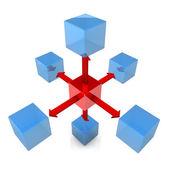 Sześć modułów niebieski z czerwonym moduł — Zdjęcie stockowe