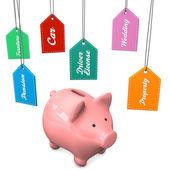 Piggy Bank Expensive Desires — Stock Photo