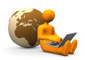 Manikin Laptop Globe — Stock Photo