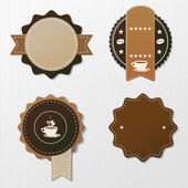 Four Coffee Labels With Text — Stock Vector