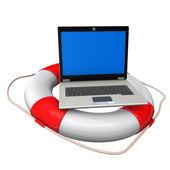 Laptop Lifebelt — Stock Photo