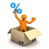 Manikin Parcel Percent — Stock Photo