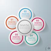 Infographic Design Flower 5 Options — Stock Vector