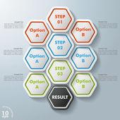 10 Hexagon Options — Stock Vector